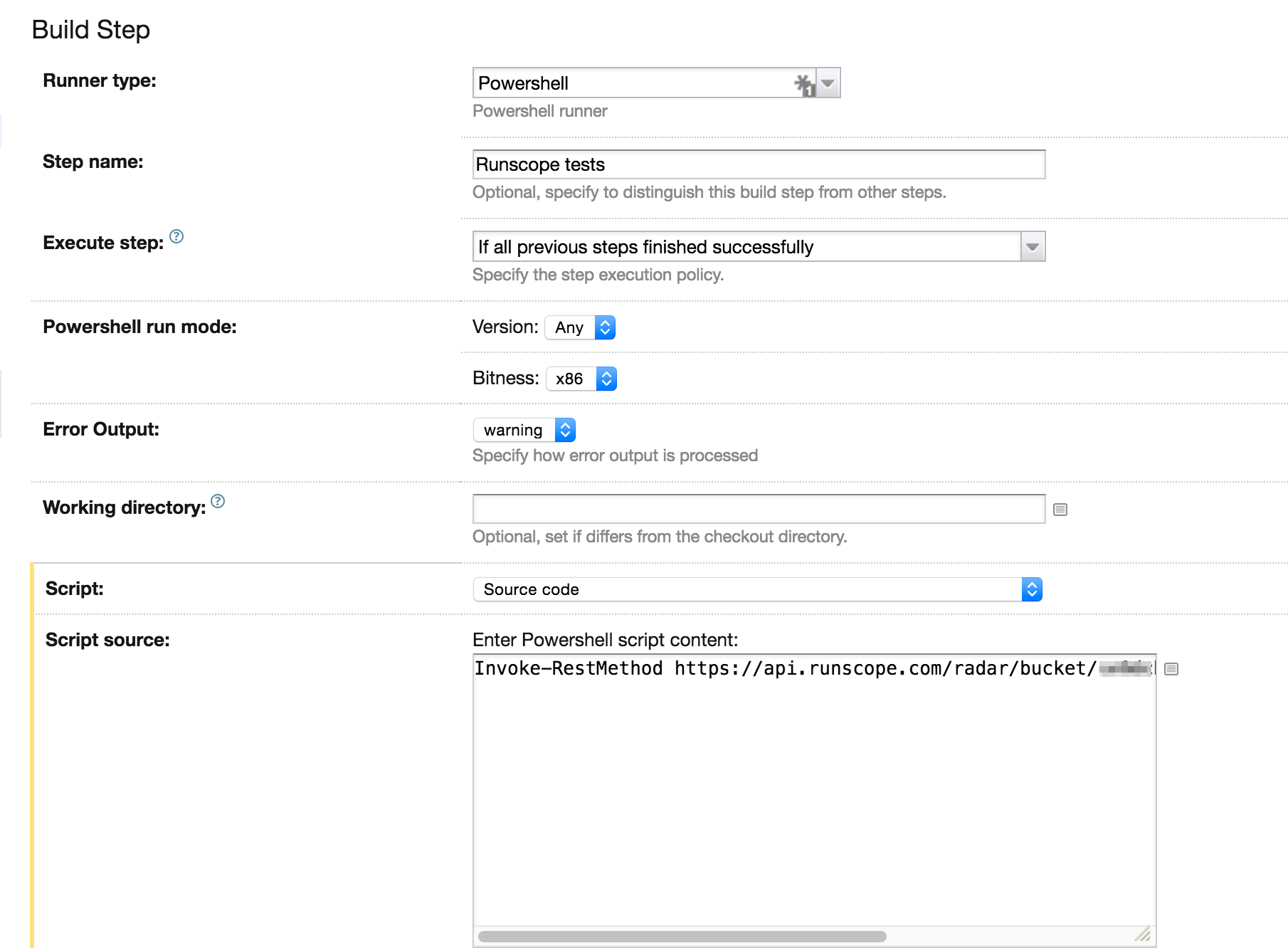 Runscope and continuous integration